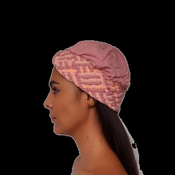 turbante trenzado rosado lado